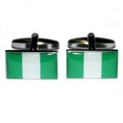 Mens Shirt Accessories - Nigeria Flag Cufflinks (With Black Presentation Box) - Novelty World Flag Theme Jewellery