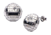 Official Stainless Steel Star Wars Death Star Stud Earrings Studs - Silver Tone