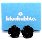 Bluebubble ENGLISH ROSE 22mm MIDNIGHT BLACK CARVED ROSE STUD EARRINGS WITH GIFT BOX