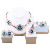 African Beads Jewellery Sets Blue Crystal Necklace Bracelet Earrings Ring Sets