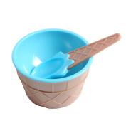 Andux Land Ice Cream Dessert Bowls and Spoons ice cream cups BPA free plastic blue pink orange (Set of 3) BQL-01