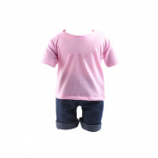 Casual Pink T-shirt & Jeans Clothes Set For 46cm American Girl Doll