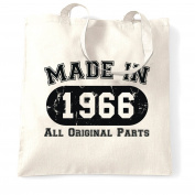 Made In 1966 All Original Parts (Distressed Design) 50th Birthday fiftieth Shopping Carrier Tote Bag