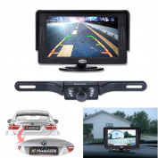 Backup Camera and Monitor Kit, 11cm TFT LCD Rear View Mirror Monitor Screen+Backup CMOS Wide Angle Licence Plate Camera With 7 LED Night Vision