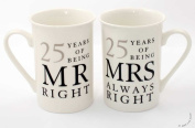 25th Anniversary Gift Set of 2 China Mugs 'Mr Right & Mrs Always Right'