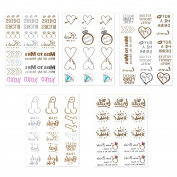 Zhenhui 5 Pcs Hen Party Gold and Silver Tattoo waterproof Temporary Tattoos Hen Night Accessories Decorations
