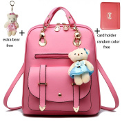 Asiki Fashion Women Girls Ladies Schoolbag PU Leather Backpack Shoulder Bag Rucksack with a Free Extra Lovely Bear and Card Holder