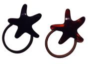 Parcelona French Star Set of 2 Brown Shell N Black Ponytail Holder Hair Elastic Tie Ponies Bands