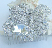 Sindary 8.5cm Pretty Butterfly Bridal Hair Comb Wedding Headpiece Clear Rhinestone Crystal Silver Tone HZ6407