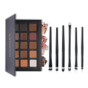 Ucanbe 15 Earth Colour Matte Pigment Eyeshadow Palette Nude Eye Shadow Palettes with 6pcs Eye Makeup Brushes Set
