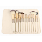 Aisa 12 Pcs Makeup Cosmetics Brushes Set Kits Professional Kabuki Makeup Brush Set Foundation Blush Concealer Eye Face Lip Powder Brushes with Synthetic Leather Case Colour Beige