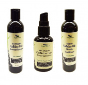 Simply Radiant Beauty Organic Caffeine Hair Growth Set- Suflate Free Shampoo, Conditioner and Protein Hair Growth Serum