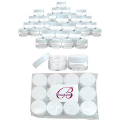 Beauticom® 240 Pieces High Quality 20G/20ML Round Clear Jars with WHITE Lids for Lotion, Creams, Toners, Lip Balms, Makeup Samples - BPA Free