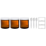 Amber Thick Glass Straight Sided Jar with White Smooth Lids - 4 oz / 120 ml (3 pack) + Spatulas and Labels