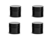 100 Pack 5ml Black Double Wall Container Plastic Jar w/ Cap