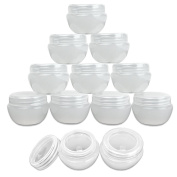 Beauticom® 12 Pieces 30G/30ML (1 Oz) High Quality White Frosted Container Jars with Inner Liner for Pills, Medication, Ointments and Other Beauty and Health Aids - BPA Free