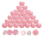 Beauticom® 36 Pieces 10G/10ML High Quality Pink Frosted Container Jars with Inner Liner for Mkaeup, Creams, Cosmetic Beauty Product Samples - BPA Free
