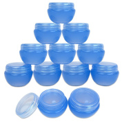 Beauticom® 12 Pieces 10G/10ML High Quality Blue Frosted Container Jars with Inner Liner for Pills, Medication, Ointments and Other Beauty and Health Aids - BPA Free