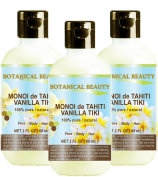 MONOI de TAHITI VANILLA TIKI OIL 100 % Natural / 100% PURE BOTANICALS. 2 Fl.oz.- 60 ml. For Skin, Hair and Nail Care.
