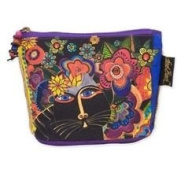 Laurel Burch Feline Minis Cosmetic Bag - Black Cat and Flowers