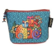 Laurel Burch Feline Minis Cosmetic Bag - Multi-Coloured Cats on Teal