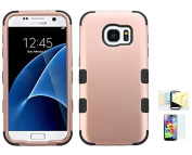 Galaxy S7 Case, [Rose Gold+Black] Shock Absorbing Two Layer Rubber Plastic Impact Defender Hard Cover Shell Momiji Cleaning Cloth, [Screen Guard] For for Samsung Galaxy S7