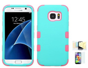 Galaxy S7 Case, [TEAL] Shock Absorbing Two Layer Rubber Plastic Impact Defender Hard Cover Shell Momiji Cleaning Cloth, [Screen Guard] For for Samsung Galaxy S7