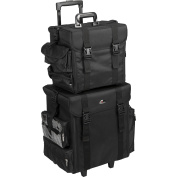 JustCase T5171 2-in-1 Soft Sided Professional Rolling Trolley Makeup Artist Cosmetic Case, Black Nylon