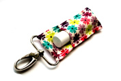 Chapstick Holder, Lip Balm Holder, Clip-On Chapstick, Jewel Toned Flowers