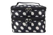 Maketop TM Cosmetic Bag Black and White Polka-Dot Makeup Bag