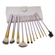Mily 12 Pcs Silver Rod Makeup Brush Cosmetic Set Kit with a Beige Package