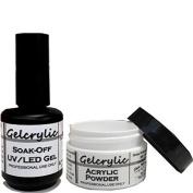SHEBA NAILS Gelcrylic Gel Powder Combo Kit - UV/LED Soak-Off Nail Gel and Gecrylic Clear Powder