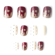 Cute Japan Point Golden Wavy Pattern Short Fake Nails with Pearl Wine Red and Milk Colour Square Full Cover False Nails