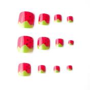 24pcs Strawberry False Toe Nail Foot Patch Toenails for Women or Children