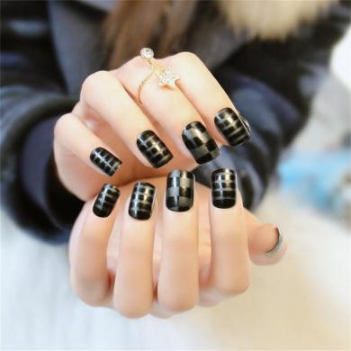 24 sheet Black Matte Fake Nails Medium Full Cover Design Nail Tips
