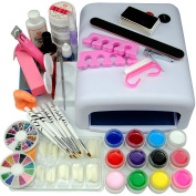 Coscelia 36W White Lamp Dryer 12pc Colores UV Gels Nail Art Tips For Beauty Manicure Tools Sets