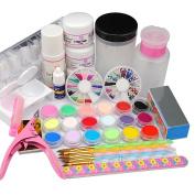 Coscelia 18pc Colores Acrylic Powders For Nail Sets Manicure Pedicure Tools Kits