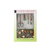 JT Cosmetics Manicure Set with . Floral Carrying Case - 4 Pack