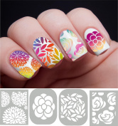 Floral flower variety Nail Vinyl guides stencils 4 designs 96pcs