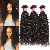 Jolia Hair Unprocessed Brazilian Virgin Curly Hair Extensions 3 Bundles, 100% Pure Real Brazilian Human Hair Weave, 7A Grade, Natural Black Colour, Full Head 14 16 46cm