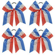 CN 4pcs Sequin Cheer Bow Large Patriotic Hair Bows Attached Baby Girls Elastic Headband for Cheerleading Girls
