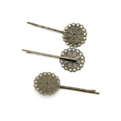 50 PCS Jewellery Making Charms Findings Supply Supplies Crafting Lots Bulk Wholesale Antique Bronze Tone Plated E8VM7 Flower Hairpin
