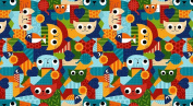 Cat Fabric - Pawsome - Packed Cats - Red - 100% Cotton