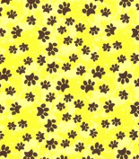 Cat Fabric - Garden Frolic - Pawprints - Yellow - 100% Cotton - By the Yard