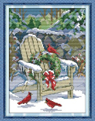 Queenlink 11CT Christmas Snow Diy Cross Stitch Embroidery Kit Home Dec Arts