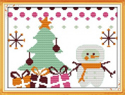 Queenlink 11CT Counted Cross Stitch Christmas Snowman #5 Diy Embroidery Kit Sewing
