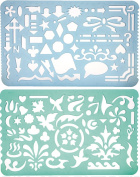 Set of 2 Artistic Drafting Templates of Various Shapes and Designs for Artists by YOSOGO