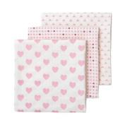 giggle Three Pack Muslin Swaddle Blankets, Pink/Dark Pink