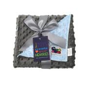 Reversible Unisex Children's Baby Blanket Minky Dot Light Blue/Grey