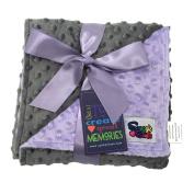 Reversible Unisex Children's Baby Blanket Minky Dot Lavender/Grey